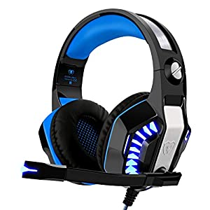 Beexcellent Gaming Headset für PS4 Xbox One PC, Professional Deep Bass Kopfhörer mit Mikrofon LED Licht für Laptop Mac Handy Tablet …
