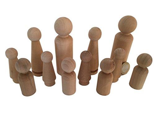 12 Familie Männchen Figuren Holzfiguren Spielfiguren zum Bemalen Basteln Holz Puppen Krippenfiguren Spielfiguren Mann Frau Junge Mädchen Kinder von MEIERLE & Söhne