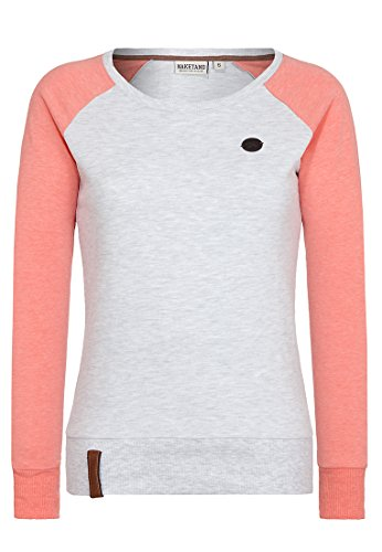Naketano Female Sweatshirt Perverse III Amazing Grey-Coral Red Melange, M