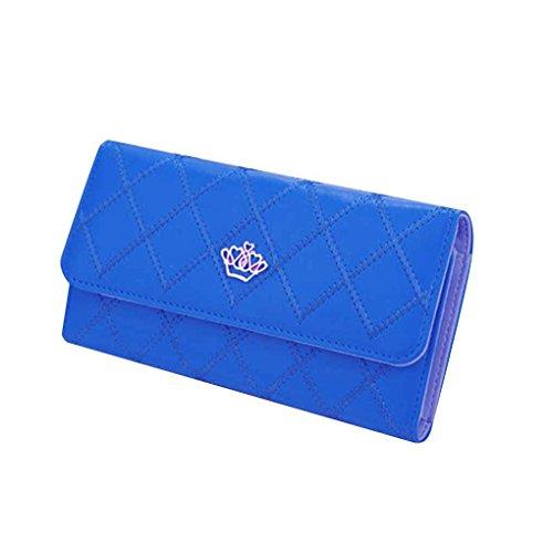 Miaomiao Lattice Grids modello PU borsa portafoglio borsa borse donna borsa lunga blu zaffiro