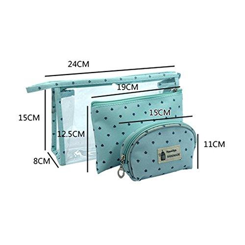 Longra Donna Sacchetto cosmetico trasparente, sacchetto di stoccaggio, sacchetto della borsa Azzurro