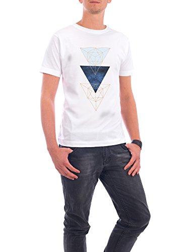 """Design T-Shirt Männer Continental Cotton """"Minimalist Triangles"""" - stylisches Shirt Geometrie von Linsay Macdonald Weiß"""