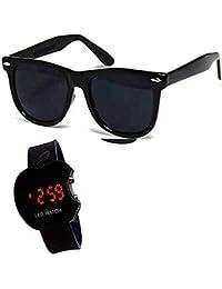 Y&S Wayfarer Men and Women's Aviator Sunglasses Combo (Black)