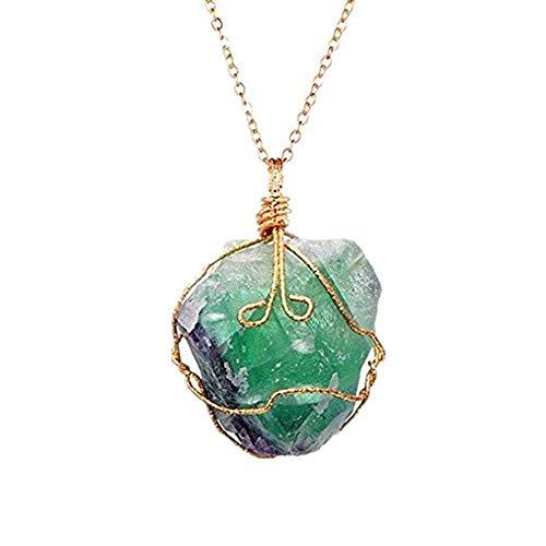 Liquidazione offerte, fittingran liquidazione offerte arcobaleno pietra naturale cristallo chakra rock collana gioielli regalo pendente al quarzo (verde)