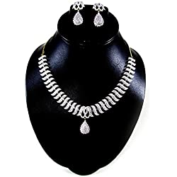 Cardinal American Diamond Traditional Latest Design Stylish Fashio Jewellerry Party Wear necklace Pendant Set with Earring for Women/girls