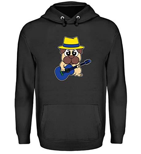 Affiliate.Inc Lustiges Mops Gitarren Design für Hundeliebhaber Pug ideales Geschenk für Hundehalter Hund - Unisex Kapuzenpullover Hoodie -L-Jet Schwarz