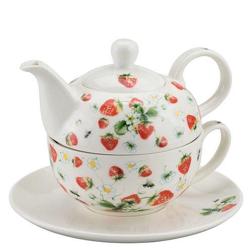 Ambiente China Tea 4?one Erdbeeren in wei? - Fine Porcelaine