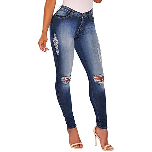 Xmiral Women Jeans Polyester Slim Washed Ripped Hole Gradient High Waist Long Denim Sexy Regular Pants