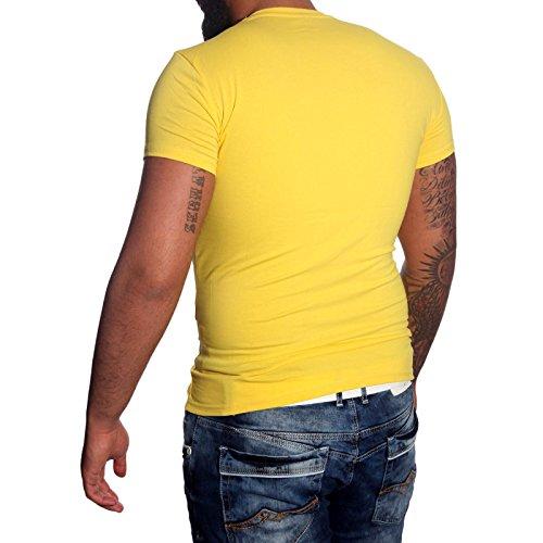 Subliminal Mode - T-shirt V-kragen Herren Bogen Mehrfarbig Mode Ck02 Polo Hemd Gelb