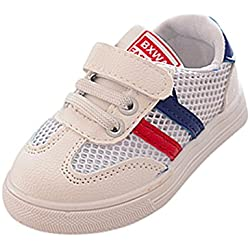 Zapatillas para Bebéss Niñas Zapatillas Niño Malla Zapatillas para Bebés Soft Soled Sneakers de Rayas Zapatos de Bebé Zapatillas de Deporte Transpirables Antideslizante Zapatos (22, Azul)
