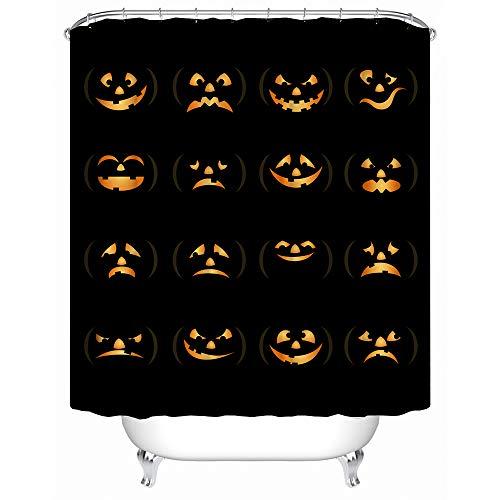 HUIYIYANG Duschvorhang Kunst Badezimmer Dekor, lustige Halloween-Zeit Geist Kürbis Halloween, wasserdicht Mehltau resistent 36