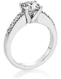 Zertifikat Klassischer 18 Karat (750) Weißgold Damen - Diamant Ring Round 1.88 Karat G-VS2 (Ringgröße 48-63)