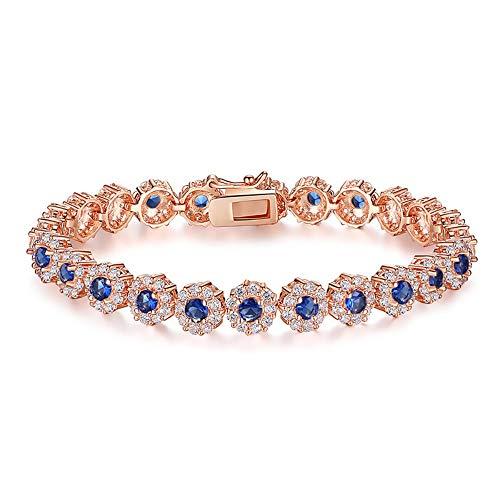 QWERST Lederarmband,Marine Blau Rose Gold Colour Chain Bracelet Für Frauen Damen Leuchtende Cubic Zirkon Crystal Schmuck, Party Geburtstag Geburtstag, Geschenke Für Frauen