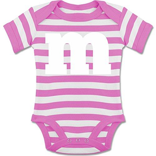 Strampler Motive - Gruppen-Kostüm m Aufdruck - 3-6 Monate - Pink/Naturweiß - BZ10S - gestreifter kurzarm Baby-Strampler / Body für Jungen und (Tutu Sache 1 Kostüm)