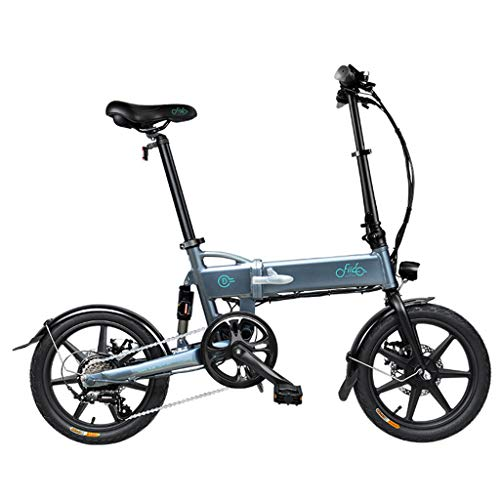 SZPDD FIIDO D2 Faltbares Elektrofahrrad DREI Fahrmodi Ebike 250W Motor 25Km / H 25-40KM Reichweite E Fahrrad 16 Zoll Reifen Elektrofahrrad,Grau,6speed
