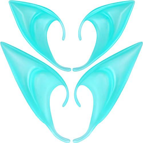 4 Paar Fee Pixie Elf Ohren, 2 Größe Leuchten in der Dunkelheit Latex Weiche Ohren Vampir Elven Ohren Halloween Cosplay Kostüme wies Prothese Ohr für Maskerade Anime Halloween Party (Leuchtende Farbe)