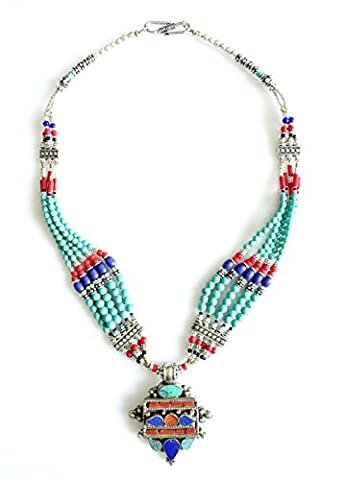 BLUE LAPIS-LAZULI, CORAL & TURQUOISE TIBETAN NECKLACE FOR WOMEN HANDMADE MULTI STRAND TRIBAL GYPSY PENDANT NECKLACE BY TIBETAN
