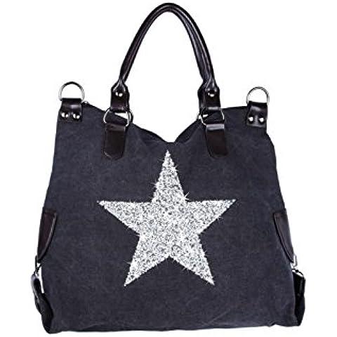 Bolso de las señoras de la estrella NEW-2016 Jeans Beuteltasche Strass Aplicación de la lona del bolso de hombro antiguos de la mirada de las señoras con las estrellas