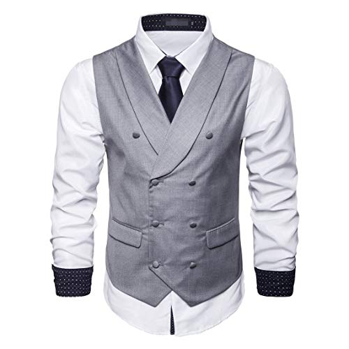 CuteRose Men's 2Pockets Waistcoat Double-Breasted Formal Suit Dress Vests Light Grey XL -