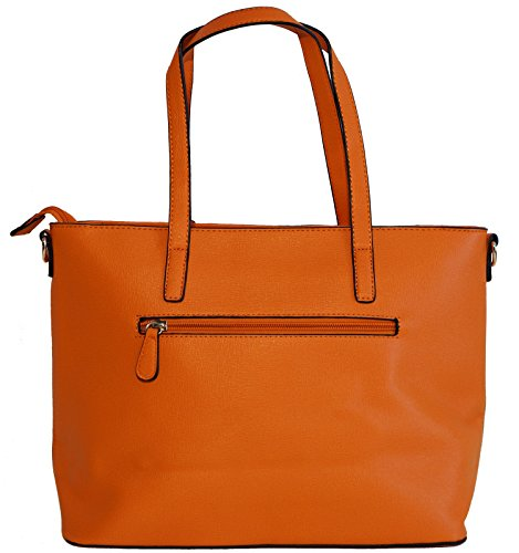 Borsa donna David Jones in ecopelle modello shopper con decorazione traforata Arancione