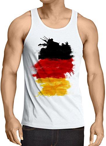 CottonCloud Flagge Deutschland Herren Tank Top Fußball Sport Germany WM EM Fahne, Größe:XXL, Farbe:Weiß -