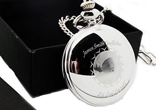 gdparent Geschenke, Godfather Gute Geschenke, Geschenke, Gravur, babvies Bild Laser graviert, personalisiert, Maurer von London Taschenuhr in peronslaised Geschenk-Box