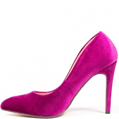 Ideal Shoes - Escarpins effet velours Laelle Fuchsia