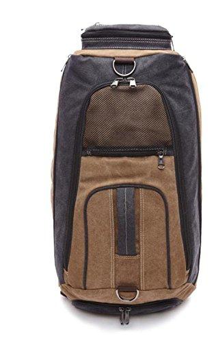 &ZHOU Segeltuchtasche, Canvas-Tasche, große Kapazität, Outdoor-Rucksack, Multi-funktionale, Schulter-Taschen, Güter mit doppeltem Verwendungszweck, einzelne Schulter schräg Kreuz, Männer und Frauen, B coffee