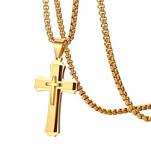 Oidea Edelstahl Goldene Kreuz Christus Anhänger mit 56cm Kette Halskette für Herren Männer