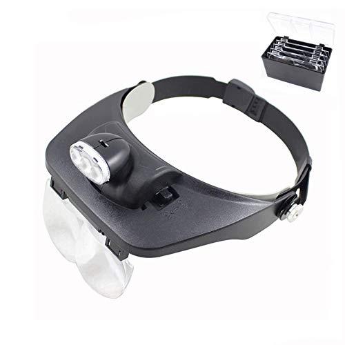 WHYTT Vergrößerungsglas Stirnband Lupe Juwelier Lupe Headset Lupe mit LED-Licht Lupe Objektiv Lupe 2 LED-Lichtvisier für chirurgische Reparatur Präzisionsarbeit Lesen -