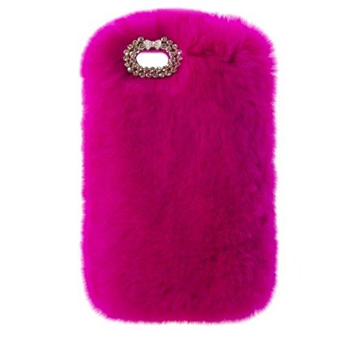 Schutzhülle für iPod Touch 6, Lovely Warm Handmade Bunny Furry Luxus Bling Kristall Strass Soft Beaver Rex Kaninchen Ohr Fell Schutzhülle für Apple iPod Touch 56. Generation, C Bowknot-Rose - Touch 5 Fällen Furry Ipod