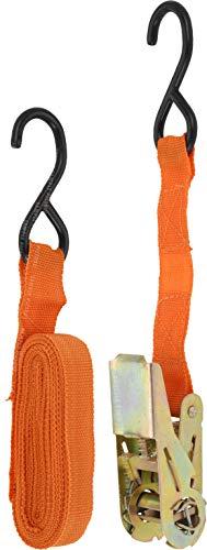 FX-Tools Spannband/Spanngurt mit Ratsche und gummierten Haken - 4,5 Meter lang, 2,5 cm breit - orange