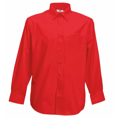 Fruit of the Loom Herren Long Sleeve Poplin Shirt Freizeithemd, Rot (Red), X-Large
