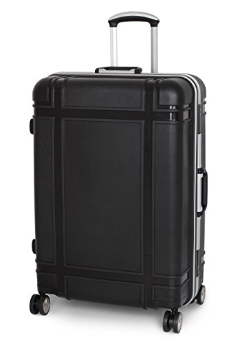 IT Luggage Coffre fort Anti Vol Cadre Coque Rigide Fileur Valise - Noir, Large - 76.5 x 53.5 x 34 cm - 6.65 kg
