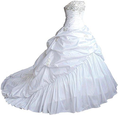 Faironly M045 Liebsten Taft Hochzeitskleid Brautkleider (XXL, Weiß)