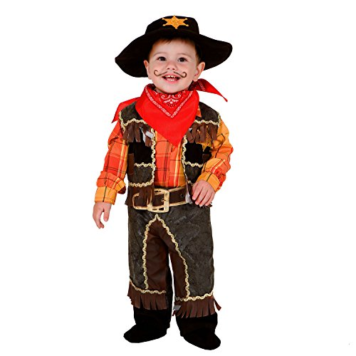 Kleinkind Cowboy Kostüm - Krause & Sohn Kinderkostüm Cowboy braun kariert Western Wilder Westen Halstuch Rodeo Cowboyhut Sheriff Fasching Karneval (86)