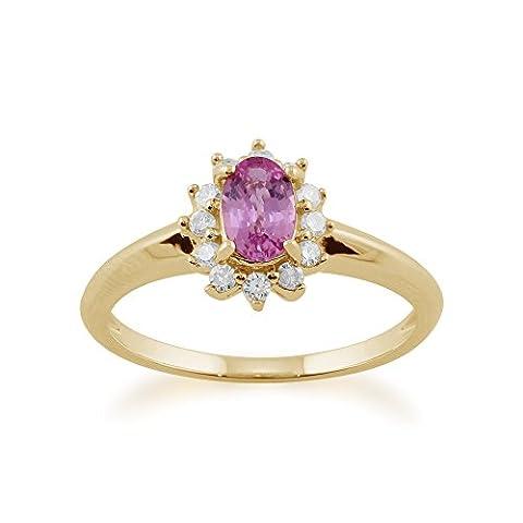 Gemondo Rose Bague Saphir, 9ct Or Jaune 0,52ct Saphir Rose & Diamant Ovale Grappe Bague
