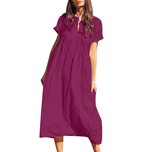 SHJIRsei Vestiti Donna Estate Lunga Vestito 2019 Eleganti Abito Maniche Corta Vintage Vestiti da Sera Stampa Gonne Donna Scollo V Lino T-Shirt Vestiti Vestito da Spiaggia Mini Abito