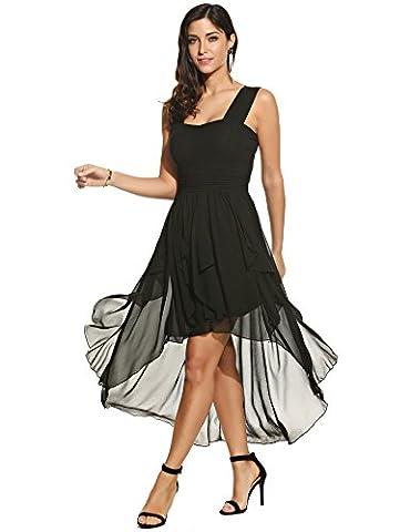 ACEVOG Damen Chiffon Kleid Abendkleid mit Saum Wickelkleid Sommerkleid Freizeitkleid Partykleid Chiffonkleid knielang (M,