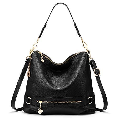 Handtasche Damen Leder Handtasche Groß Schultertasche Henkeltaschen Frauen Taschen (Schwarz) - Leder Schultertasche Handtasche Tasche