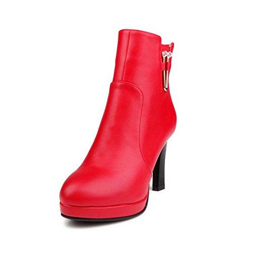 VogueZone009 Damen Reißverschluss Hoher Absatz Rein Schnalle Niedrig Spitze Stiefel, Rot, 40