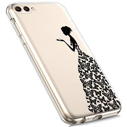 Preisvergleich Produktbild MoreChioce kompatibel mit Huawei Honor View 10 Hülle,kompatibel mit Huawei Honor View 10 Hülle Silikon Transparent, Cute Cartoon Durchsichtig Handyhülle TPU Flexible Bumper [Schmetterlingsrock]EINWEG