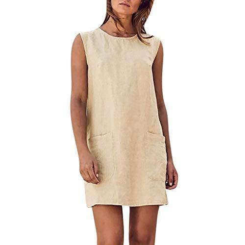 Mini-tee-party-kleid (Go First Hot! Frauen Baumwolle Und Leinen Tank Top Kleid Einfarbig Ärmellos Mit Tasche Kleid Lässig Größe Mini Rock (Color : Beige, Size : Asian M= US S))