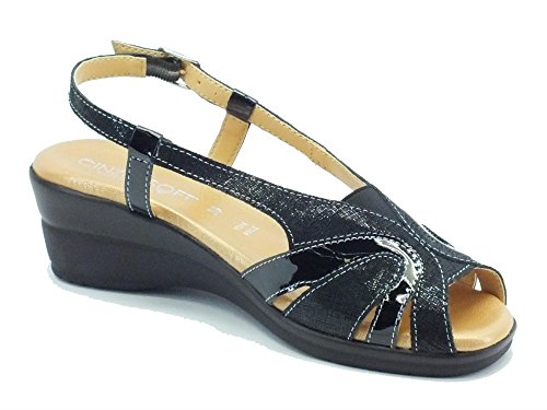 Sandali Cinzia Soft in pelle satinata nera zeppa bassa Nero