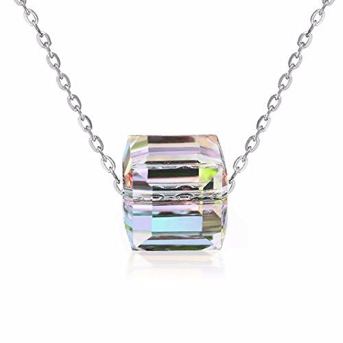 Aurora-Borealis-Halskette | Kristalle von SWAROVSKI mit Echtheitszertifikat | 925 Sterling Silber | Allergenfrei | Halskette 45+5cm für Damen | Verlängerungskette | Anhänger für Frauen, Mädchen