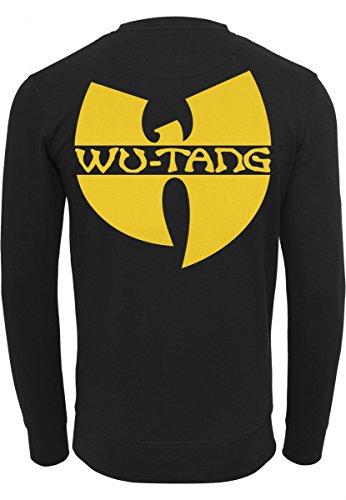 Wu Wear Uomo Front Back, girocollo Felpa Black