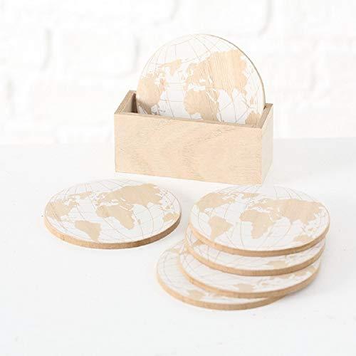 Glas Untersetzer 6 Stück mit Halter Motiv Weltkarte World beige/weiß D10cm ()