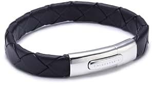 Baldessarini Herren-Armband Lederband schwarz 925 Sterlingsilber vintage-oxidized 21 cm Y1010B/90/00/21