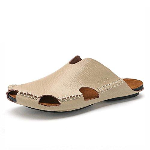 Männer Leder Slipper handgefertigte Vintage Flip Flops Front Paket Sandalen Mode und komfortabel meters white