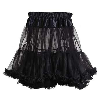 """FACILLA® 15"""" Black 50s Adult Fairy Tutu Fancy Dress Petticoat Mini Skirt Rock n' Roll"""
